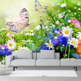 Fototapete, Câmp cu flori și fluturi