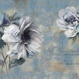 Fototapete, Floare albastră pe fundal albastru.