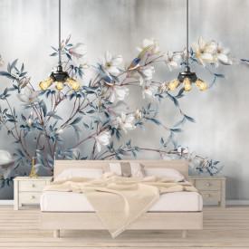 Fototapete, Flori albe pe o ramură și un fond gri