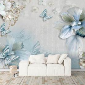 Fototapete, Fluturi albaștri și flori albe