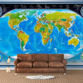 Fototapete, Harta lumii albastre sub formă de sferă pe fond gri