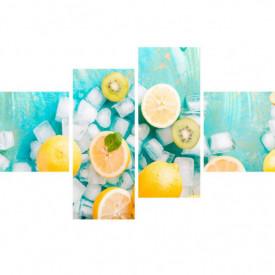Multicanvas, Lămâi galbene pe un fundal albastru