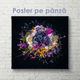 Poster, Buchet abstract de flori strălucitoare pe un fundal negru