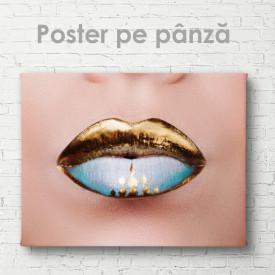 Poster, Buze cu contur auriu