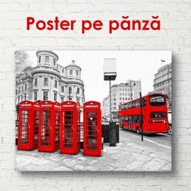 Poster, Cabine de telefon roșii și un autobuz roșu