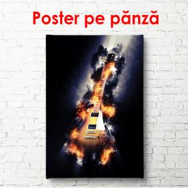 Poster, Chitara surie cu negru pe fundal negru
