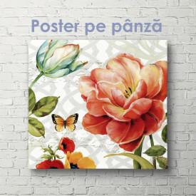 Poster, Compoziție strălucitoare de flori și fluturi