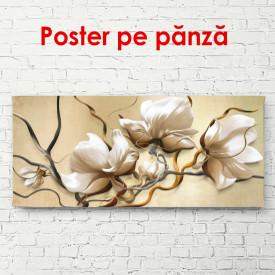 Poster, Flori bej pe un fundal pal