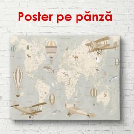 Poster, Harta lumii cu avioane