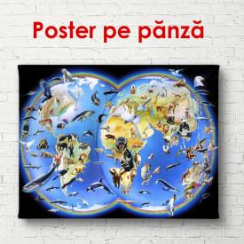 Poster, Harta lumii pentru copii cu transport