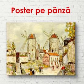 Poster, Orașul vintage cu o moară