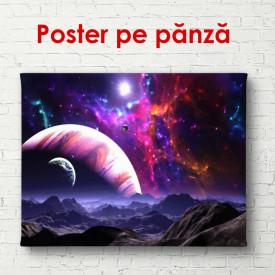 Poster, Pămânul pe un fond de galaxie violet