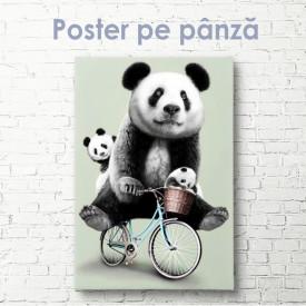 Poster, Panda drăguți pe bicicletă