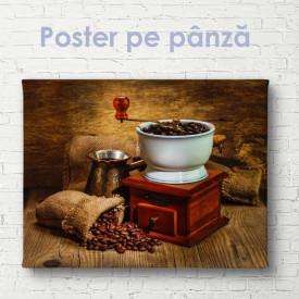 Poster, Râșniță și boabe de cafea