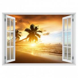 Stickere pentru pereți, Fereastra cu vedere spre o plajă cu palmieri