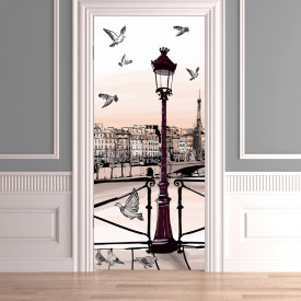 Stickerele decorative, pentru uși, Un dig cu vederea la un dig cu păsări pe cer, 1 foaie de 80 x 200 cm