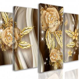 Tablou modular, Broșe de aur sub formă de flori de trandafir