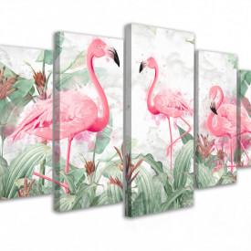 Tablou modular, Flamingo în jungla verde