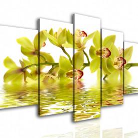 Tablou modular, Orhidee galbenă în reflexia apei