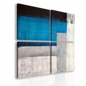 Tablou modular, Pete albastre abstracte.