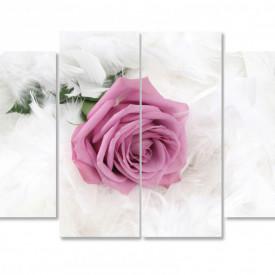 Tablou modular, Trandafirul roz pe un fundal alb.