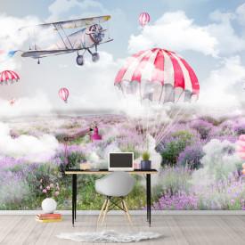 Tapet foto pentru copii, Parașutele aterizează într-un câmp de lavandă
