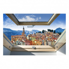 Fereastră falșă, Fereastra 3D cu vederea spre un oraș