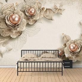 Fototapet 3D, Flori de aur cu perle pe un fundal deschis