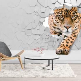 Fototapet 3D, Un leopard pe fundalul unui perete spart