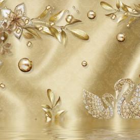 Fototapet, Broșă de aur sub formă de flori și lebede pe un fundal auriu
