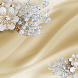 Fototapet, Broșe gri sub formă de flori pe un fundal bej