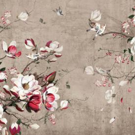 Fototapet, Crenguțe cu flori roz pe fundal maro
