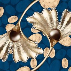 Fototapet Fantezie, Crenguțe de aur pe un fond albastru