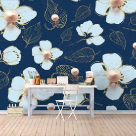 Fototapet Fantezie, Flori albe cu perle pe un fond albastru