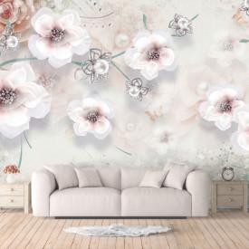 Fototapet Fantezie, Flori albe pe un fond gri blând