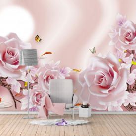 Fototapet Fantezie, Trandafiri de culoare roză pe un fond de mătase