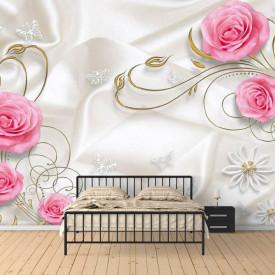 Fototapet Fantezie, Trandafiri de culoarea roză pe un fond de mătase