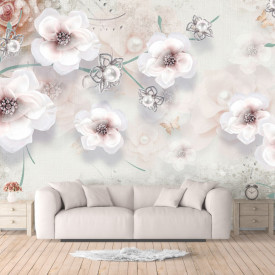 Fototapet, Flori albe pe un fundal gri delicat