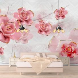 Fototapet, Flori ceramice roz pe un fundal delicat