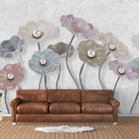 Fototapet, Flori delicate pe un fundal delicat