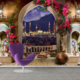 Fototapet Fresco, Balconul fantastic cu vedere la oraș
