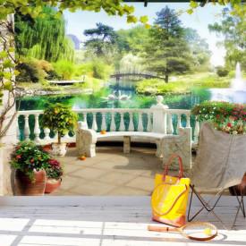 Fototapet Fresco, Fototapete cu o vedere de la balcon spre parcul frumos