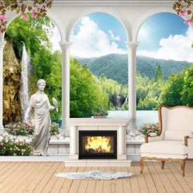 Fototapet Fresco, Fototapete cu o vedere spre lac prin ferestrele arcuite