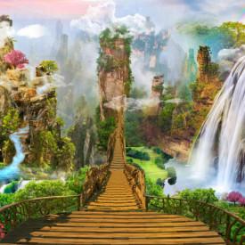 Fototapet Fresco, Parcul magic cu o cascadă