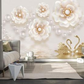 Fototapet, Lebede și flori delicate pe un fundal de perle