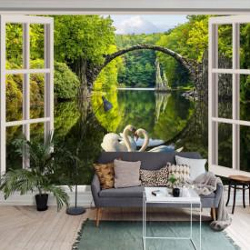 Fototapet, O fereastră deschisă albă cu Priveliște la un parc verde