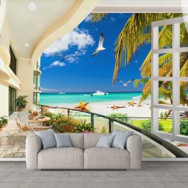 Fototapet, O fereastră deschisă cu Priveliște la ocean