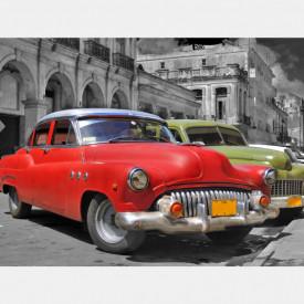 Fototapet, O mașină roșie pe o stradă alb-negru
