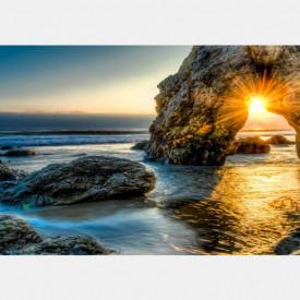 Fototapet, Stânci și apus de soare