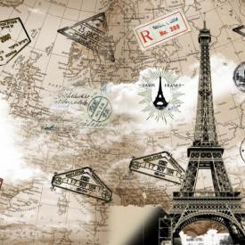 Fototapet, Turnul Eiffel pe fundalul cărților maro